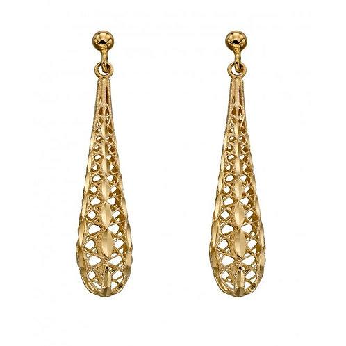 9ct Gold Mesh Teardrop Earrings