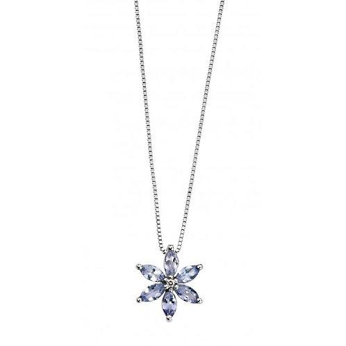 9ct White Gold Diamond & Tanzanite Flower Pendant