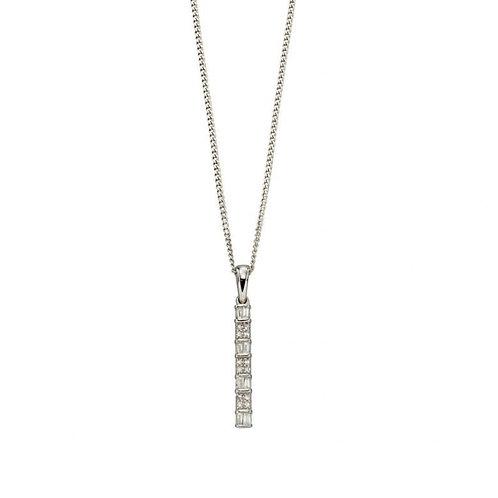 9ct White Gold Diamond Bar Pendant