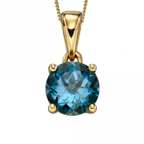 9ct Gold December Blue Topaz Pendant