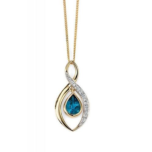 9ct Gold London Blue Topaz & Diamond Pendant