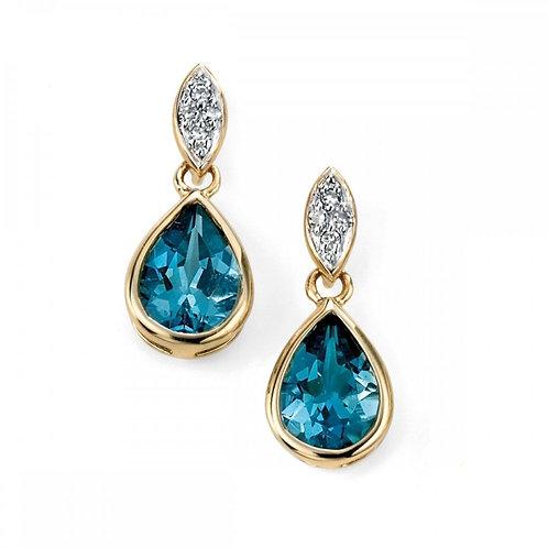 9ct Gold London Blue Topaz & Diamond Droppers