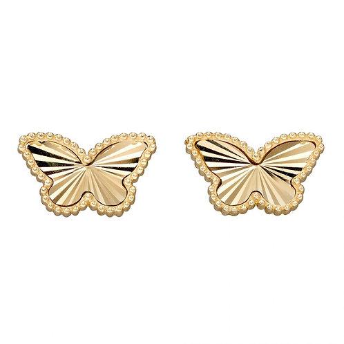 9ct Gold Diamond Cut Butterfly Studs