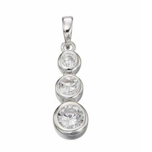 Sterling Silver triple drop CZ pendant