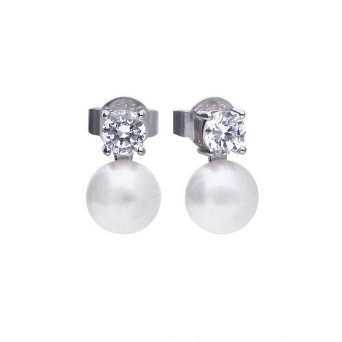 Sterling Silver CZ & Pearl Earrings