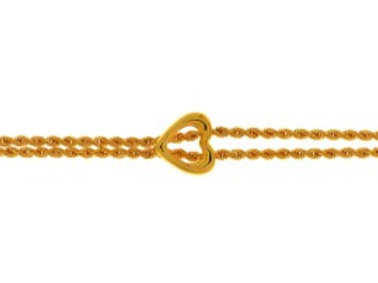9ct Gold double rope bracelet with heart centre