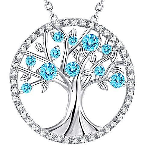 Sterling Silver Aquamarine Tree of Life Pendant