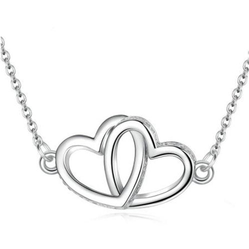 Sterling Silver Interlinked Hearts Necklace