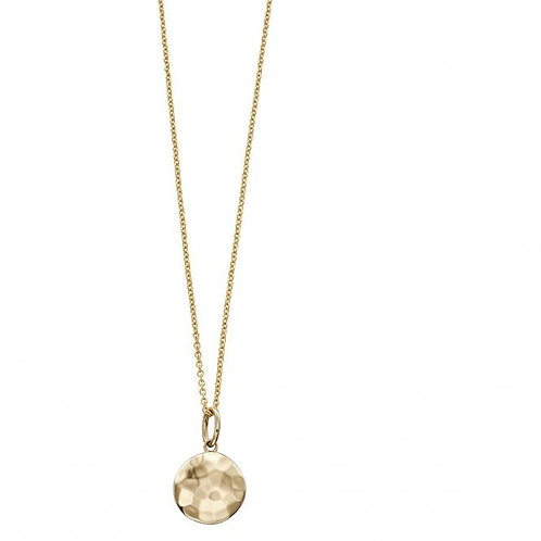 9ct Gold Hammered Disc Pendant