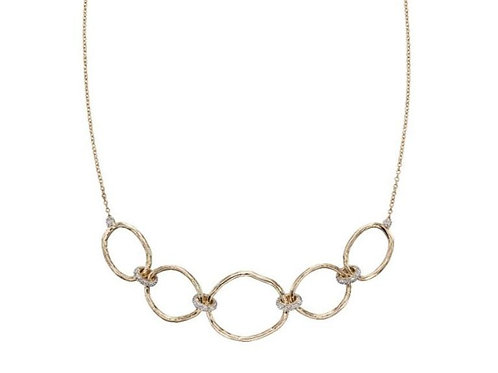 9ct Gold Hammered Link & Diamond Connector Necklace