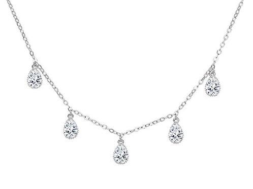 Sterling Silver CZ teardrop necklace