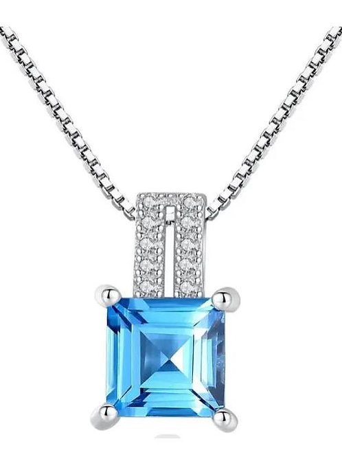 Sterling Silver square sky blue crystal pendant