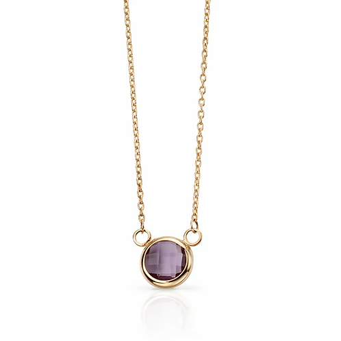 9ct Gold Faceted Amethyst Necklace