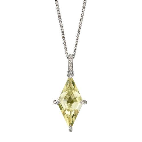 9ct White Gold Lemon Quartz & Diamond Pendant