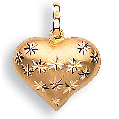 9ct Gold Diamond Cut Puffed Heart Pendant