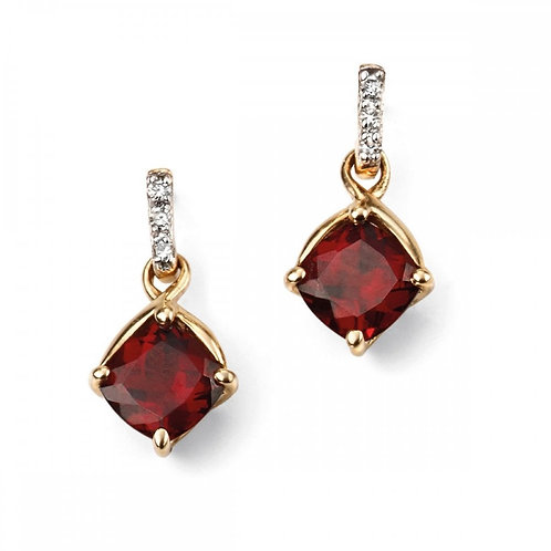 9ct Gold Garnet & Diamond Droppers