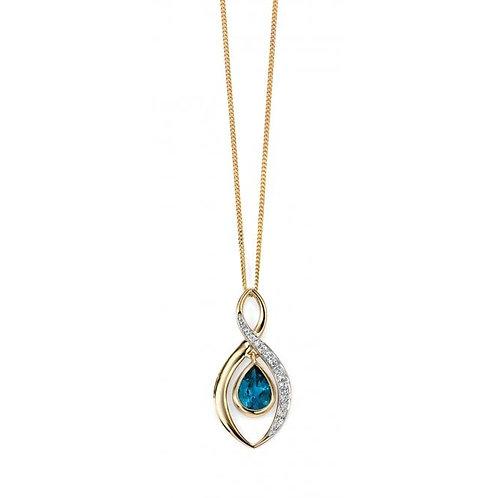 9ct Gold Diamond & Blue Topaz Pendant