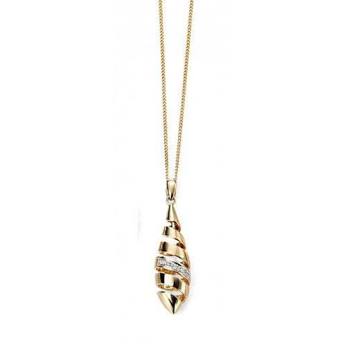 9ct Gold Diamond Spiral Drop Pendant