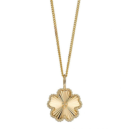 9ct Gold Diamond Cut Flower Pendant