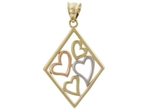 9ct Multi Gold Heart Pendant