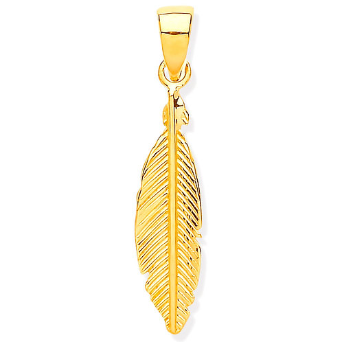 9ct Gold Small Feather Pendant