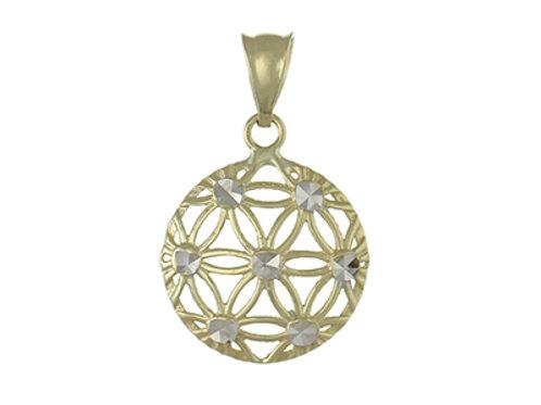 9ct Gold Diamond Cut Round Pendant