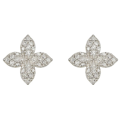 9ct Gold Diamond Flower Studs