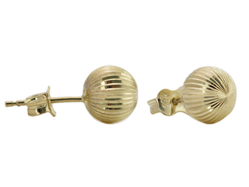 9ct Gold 8mm Diamond Cut Ball Studs