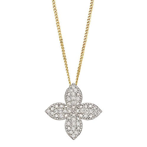 9ct Gold Diamond Flower Pendant