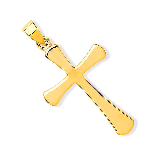 9ct Gold Plain Cross with oval ends