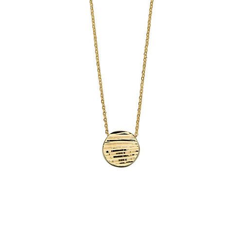 9ct Gold Textured Disc Necklace
