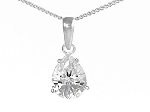 Sterling Silver Pear Shaped CZ Pendant