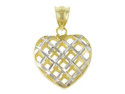 9ct Gold Diamond Cut Heart Necklace