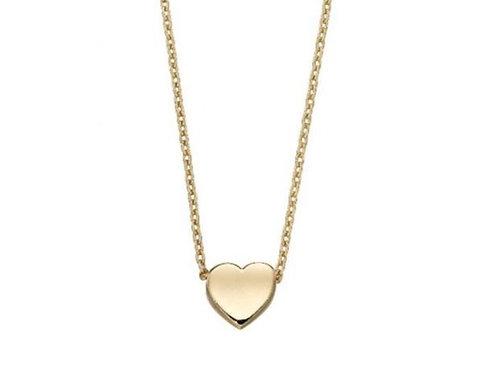 9ct Gold Plain Heart Necklace