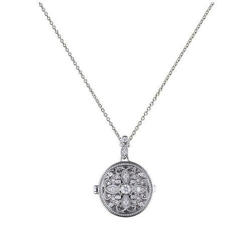 Round medallion filigree locket with Diamonfire cubic zirconia