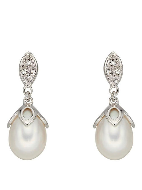 9ct White Gold Pearl & Diamond Droppers