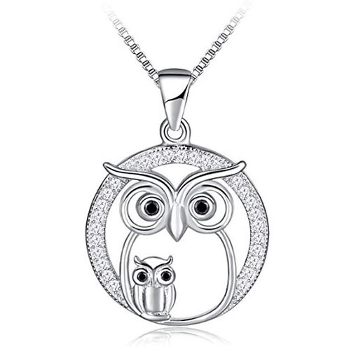 Sterling Silver CZ Owl Pendant