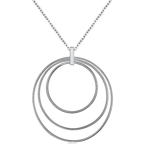 Sterling Silver large triple circle statement pendant