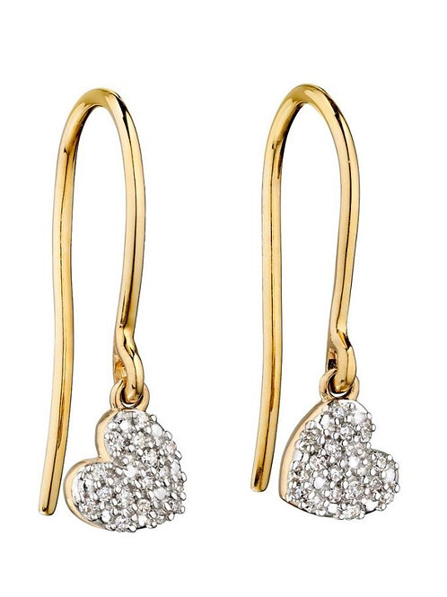 9ct Gold Diamond Heart Droppers
