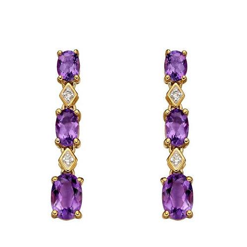 9ct Gold Amethyst & Diamond Earrings