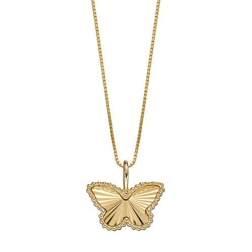 9ct Gold Diamond Cut Butterfly Pendant