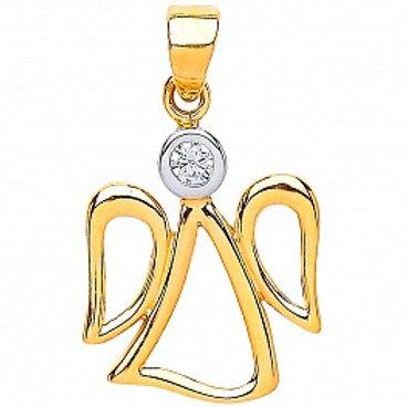 9ct Gold CZ Angel Pendant