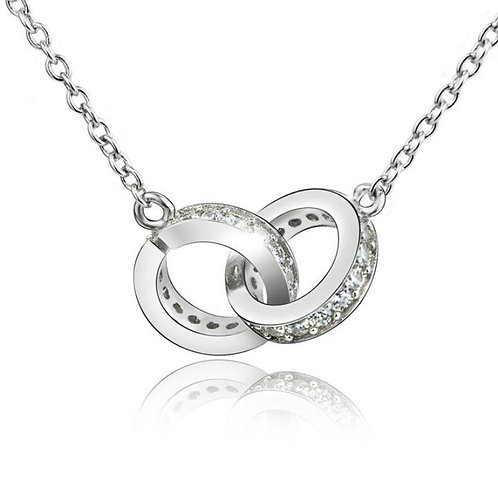 Sterling Silver Interlocking Rings Necklace
