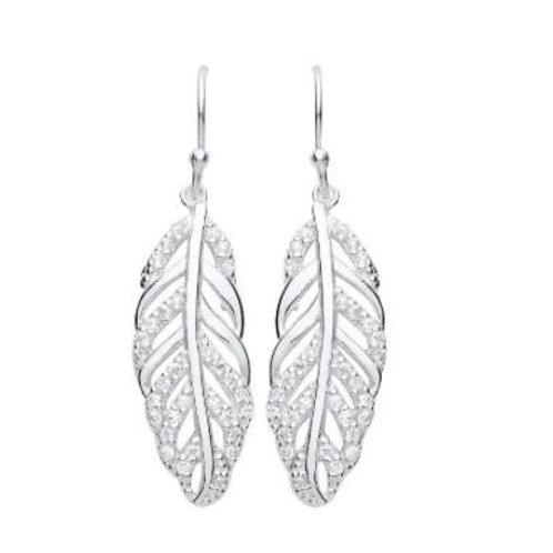 Sterling Silver Austrian crystal leaf droppers