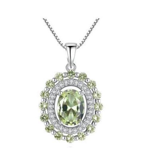 Sterling Silver Olive crystal & CZ pendant
