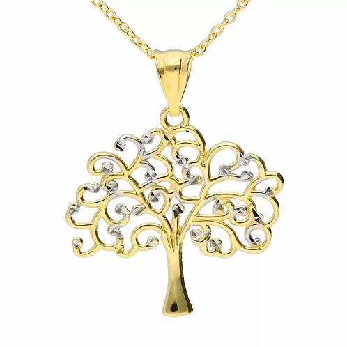 9ct Gold tree of life Diamond cut necklace
