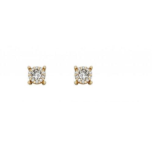 9ct Gold Diamond Cluster Studs