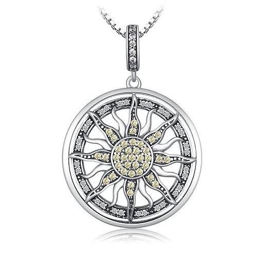 Sterling Silver CZ Celestial Sun Pendant