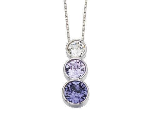 Sterling Silver Triple Swarovski Purple Pendant