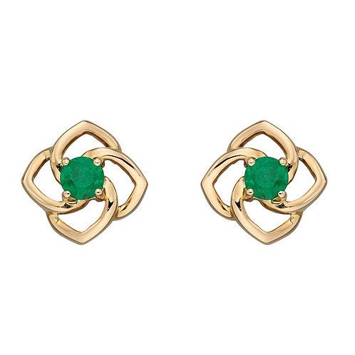 9ct Gold Emerald Flower Studs